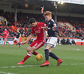 17th March 2018, Pittodrie Stadium, Aberdeen, Scotland; Scottish Premier League football, Aberdeen versus Dundee; Anthony O'Connor of Aberdeen and Simon Murray of Dundee