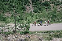 up the snow-patched Cormet de Roselend (1977m) <br /> <br /> Stage 7: Moûtiers > Saint-Gervais Mont Blanc (129km)<br /> 70th Critérium du Dauphiné 2018 (2.UWT)
