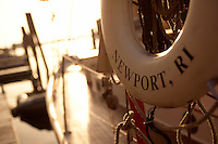 "USA, Newport, RI - Selective focus of life ring marked with the yacht's home port; ""Newport, RI."""