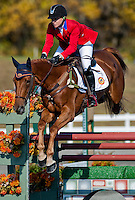 RF Demeter, with rider Marilyn Little (USA), competes during the Stadium Jumping test during the Fair Hill International at Fair Hill Natural Resources Area in Fair Hill, Maryland on October 21, 2012.