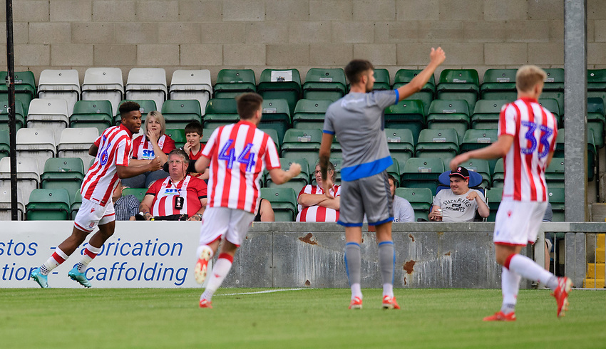 Stoke City's Tyrese Campbell celebrates scoring the opening goal<br /> <br /> Photographer Chris Vaughan/CameraSport<br /> <br /> Football Pre-Season Friendly - Lincoln City v Stoke City - Wednesday July 24th 2019 - Sincil Bank - Lincoln<br /> <br /> World Copyright © 2019 CameraSport. All rights reserved. 43 Linden Ave. Countesthorpe. Leicester. England. LE8 5PG - Tel: +44 (0) 116 277 4147 - admin@camerasport.com - www.camerasport.com