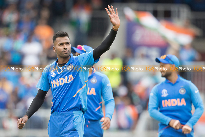 Hardik Pandya (India) acknowledges the crowd following the wicket of Neesham during India vs New Zealand, ICC World Cup Semi-Final Cricket at Old Trafford on 9th July 2019