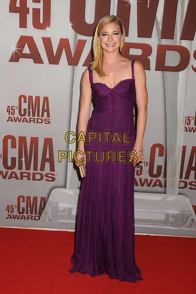 Emily VanCamp.The 45th Annual CMA Awards, Country Music's Biggest Night, held at Bridgestone Arena, Nashville, Tennessee, USA..November 9th, 2011.full length dress purple.CAP/ADM/BP.©Byron Purvis/AdMedia/Capital Pictures.