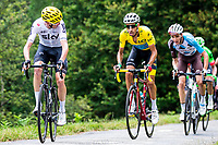Picture by Alex Whitehead/SWpix.com - 14/07/2017 - Cycling - Le Tour de France - Stage 13, Saint-Girons to Foix - Team Sky's Chris Froome, Astana's Fabio Aru and AG2R La Mondiale's Romain Bardet summit the Mur de Peguere.