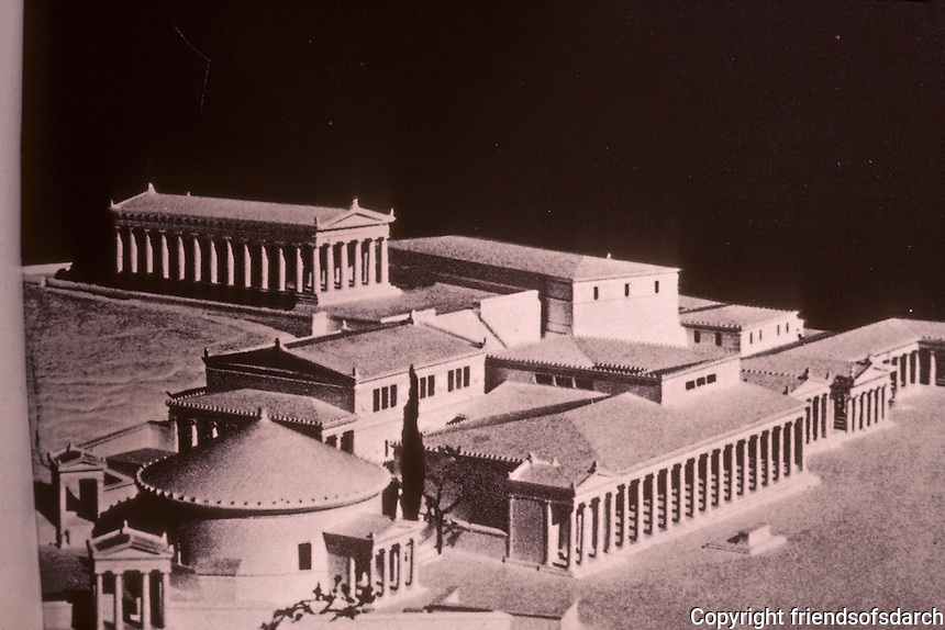 Athens: Agora, Hellenistic, Model. Round building: Tholos collonaded structure, the Metroon (?) Photo '82.