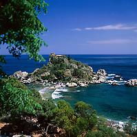 Italy, Sicily, near Taormina: View to Isola Bella | Italien, Sizilien, bei Taormina: Isola Bella