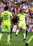 Paul Coutts of Sheffield Utd tussles with Matej Vydra of Derby County during the Championship match at Bramall Lane, Sheffield. Picture date 26th August 2017. Picture credit should read: Simon Bellis/Sportimage