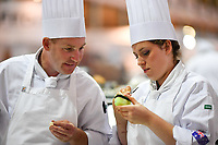 Melbourne, 30 May 2017 - Michael Cole and commis chef Laura Skvor of the Georgie Bass CafÈ & Cookery in Flinders in action at the Australian selection trials of the Bocuse d'Or culinary competition held during the Food Service Australia show at the Royal Exhibition Building in Melbourne, Australia. Photo Sydney Low