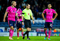 Queens Park Rangers players react after referee Peter Bankes awarded Blackburn Rovers a penalty<br /> <br /> Photographer Alex Dodd/CameraSport<br /> <br /> The EFL Sky Bet Championship - Blackburn Rovers v Queens Park Rangers - Saturday 3rd November 2018 - Ewood Park - Blackburn<br /> <br /> World Copyright &copy; 2018 CameraSport. All rights reserved. 43 Linden Ave. Countesthorpe. Leicester. England. LE8 5PG - Tel: +44 (0) 116 277 4147 - admin@camerasport.com - www.camerasport.com