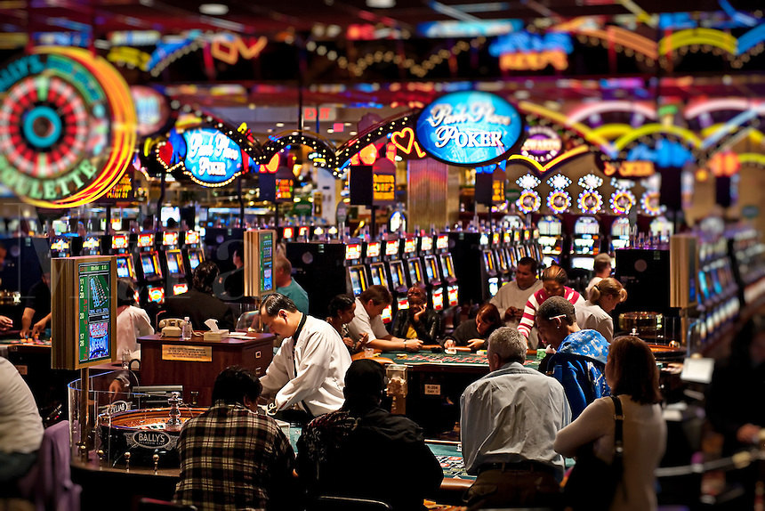 Casino roulette table and slot machines, Atlantic city, New Jersey
