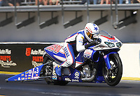 Mar. 16, 2013; Gainesville, FL, USA; NHRA pro stock motorcycle rider Hector Arana Jr during qualifying for the Gatornationals at Auto-Plus Raceway at Gainesville. Mandatory Credit: Mark J. Rebilas-