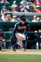 Atlanta Braves center fielder Ender Inciarte (11) hits a single during a Grapefruit League Spring Training game against the Detroit Tigers on March 2, 2019 at Publix Field at Joker Marchant Stadium in Lakeland, Florida.  Tigers defeated the Braves 7-4.  (Mike Janes/Four Seam Images)
