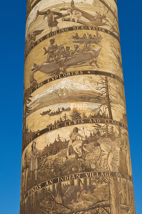 Detail of artwork on the Astoria Column depicting the Lewis & Clark Expedition; Astoria, Oregon.