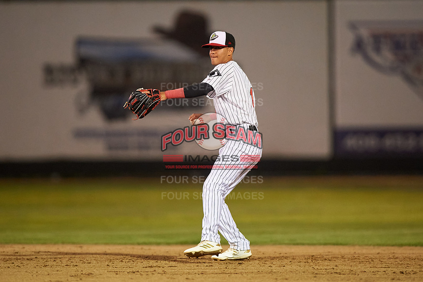 Great Falls Voyagers second baseman Kelvin Maldonado (1) during a Pioneer League game against the Missoula Osprey at Centene Stadium at Legion Park on August 19, 2019 in Great Falls, Montana. Missoula defeated Great Falls 1-0 in the second game of a doubleheader. (Zachary Lucy/Four Seam Images)