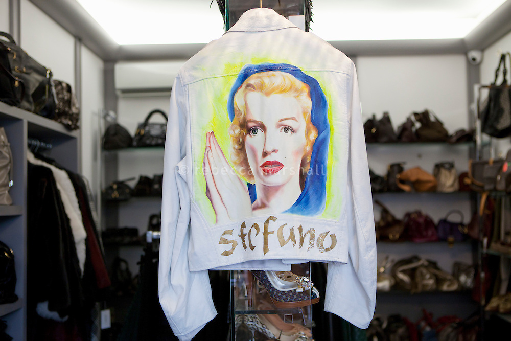 A Stephen Sprouse leather jacket with a painted image of Marilyn Monroe on the back for sale (1590 euros) at boutique 'Le Dressing', Rue Princesse Florestine, Monaco, 5 July 2013