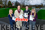 Molly Quane, Cllr Jim Finucane (Mayor of Tralee), Eoin MacUileagóid and Sophie Foran help launch the Tralee Town Park survey in the Town park on Tuesday.