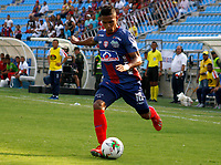 SANTA MARTA- COLOMBIA, 03-03-2019: Brayan Correa  jugador del Unión Magdalena  disputa el balón con el Deportivo Pasto  durante partido por fecha 8 de la Liga Águila I 2019 jugado en el estadio Sierra Nevada de la ciudad de Santa Marta. /Brayan Correa player of Union Magadalena   fights for the ball with  Deportivo Pasto  during match for the date 8 as part of the  Aguila League  I 2019 played at the Sierra Nevada Stadium in Santa Marta  city. Photo: VizzorImage /Gustavo Pacheco / Contribuidor
