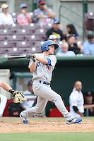 Brett Vertigan (46) of the Stockton Ports bats during a game against the Inland Empire 66ers at San Manuel Stadium on June 28, 2015 in San Bernardino, California. Stockton defeated Inland Empire, 4-1. (Larry Goren/Four Seam Images)