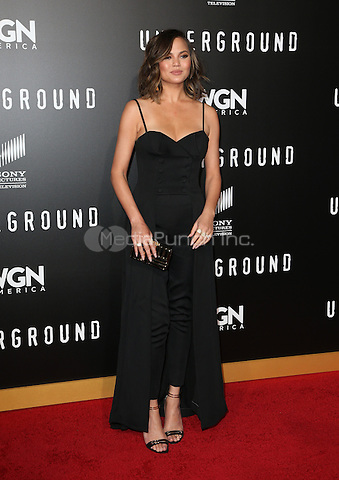 """WESTWOOD, CA - February 28: Chrissy Teigen, At Premiere Of WGN America's """"Underground"""" Season 2, At The Regency Village Theatre In California on February 28, 2017. Credit: Faye Sadou/MediaPunch"""