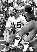 Raiders QB Mike Rae against the San Diego Chargers .<br />(1977 photo/Ron Riesterer)
