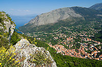 ITA, Italien, Basilikata, Provinz Potenza, Bergstaedtchen Maratea am Golf von Policastro: Urlaubszentrum an den Haengen des Monte San Biagio | ITA, Italy, Basilicata, Province of Potenza, small town Maratea at Gulf of Policastro: resort at Monte San Biagio mountain
