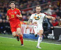19th November 2019; Cardiff City Stadium, Cardiff, Glamorgan, Wales; European Championships 2020 Qualifiers, Wales versus Hungary; Gergo Lovrencsics of Hungary clears the ball - Editorial Use