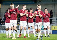 5th January 2020; Pirelli Stadium, Burton Upon Trent, Staffordshire, England; English FA Cup Football, Burton Albion versus Northampton Town; Northampton Town players clapping to thank the supporters after the final whistle and wining the match 2-4 - Strictly Editorial Use Only. No use with unauthorized audio, video, data, fixture lists, club/league logos or 'live' services. Online in-match use limited to 120 images, no video emulation. No use in betting, games or single club/league/player publications
