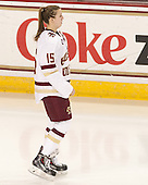 Emily Field (BC - 15) -  The Boston College Eagles defeated the visiting Boston University Terriers 5-0 on BC's senior night on Thursday, February 19, 2015, at Kelley Rink in Conte Forum in Chestnut Hill, Massachusetts.