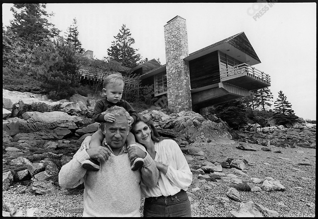 Norman Mailer with his son John Buffalo and his wife Norris Church, Bar Harbor, Maine, August 1979