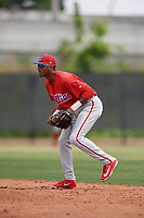 Philadelphia Phillies Daniel Brito (21) during a Minor League Spring Training game against the Toronto Blue Jays on March 30, 2018 at Carpenter Complex in Clearwater, Florida.  (Mike Janes/Four Seam Images)