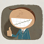 Illustrative image of cheerful businessman showing thumbs up sign with graph on teeth