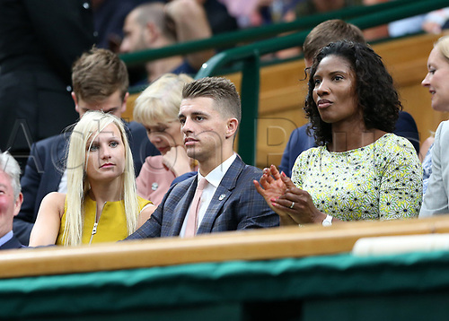 July 11th 2017, All England Lawn Tennis and Croquet Club, London, England; The Wimbledon Tennis Championships, Day 8; Five-time Olympic gymnastic medalist Max Whitlock MBE alongside his girlfriend Leah Hickton and Denise Lewis (r) watching from the royal box; Konta (GBR) versus Simona Halep (ROU)