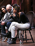 "Raven Thomas, Greg Treco and Denee Benton during the ""Hamilton"" eduHAM Student Matinee Q & A  at the Richard Rodgers Theatre on February 13, 2019 in New York City."
