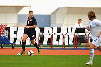Cat Whitehill carries the ball. The USWNT defeated Iceland (2-0) at Vila Real Sto. Antonio in their opener of the 2010 Algarve Cup on February 24, 2010.