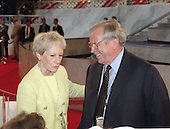 Retiring United States Senator Nancy Landon Kassebaum (Republican of Kansas), left, and former White House Chief of Staff (under Reagan) and former U.S. Senator Howard Baker (Republican of Tennessee), right, speak to delegates in the Kansas Delegation at the GOP Convention in San Diego, California on August 12, 1996.  Kassebaum and Baker are rumored to be considering marriage.<br /> Credit: Ron Sachs / CNP