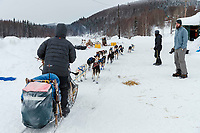Seth Barnes runs through in the morning at the Takotna checkpoint during the 2019 Iditarod on Thurssday, March 7th 2019.<br /> <br /> Photo by Jeff Schultz/  (C) 2019  ALL RIGHTS RESERVED