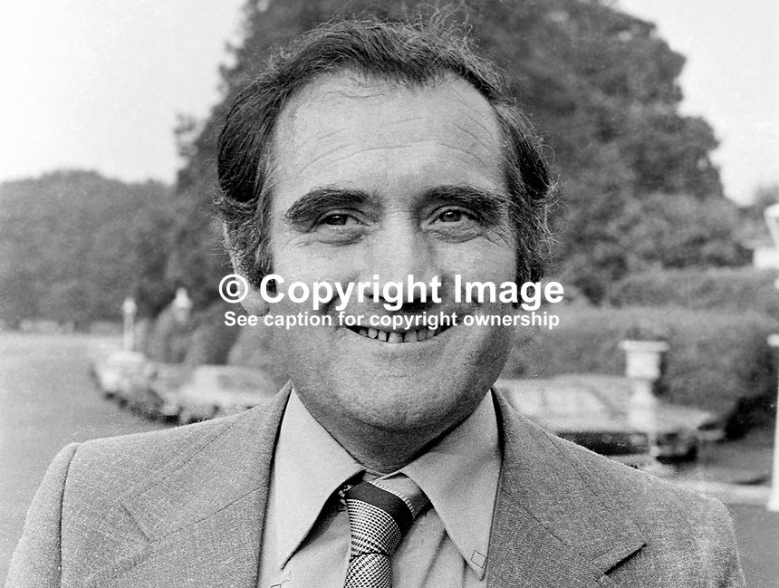 Gene Fitzgerald, Fianna Fail, TD, Minister, Government, Rep of Ireland, 195/77, 197707000195.<br /> <br /> Copyright Image from Victor Patterson,<br /> 54 Dorchester Park, <br /> Belfast, UK, BT9 6RJ<br /> <br /> t1: +44 28 9066 1296 (from Rep of Ireland 048 9066 1296)<br /> t2: +44 28 9002 2446 (from Rep of Ireland 048 9002 2446)<br /> <br /> m: +44 7802 353836<br /> <br /> e: victorpatterson@me.com<br /> www.victorpatterson.com<br /> <br /> Please see my Terms and Conditions of Use at www.victorpatterson.com. It is IMPORTANT that you familiarise yourself with them.<br /> <br /> Images used on the Internet must be visibly watermarked i.e. &copy; Victor Patterson<br /> within the body of the image and copyright metadata must not be deleted. Images <br /> used on the Internet have a size restriction of 4kbs and will be chargeable at current<br />  NUJ rates unless agreed otherwise.<br /> <br /> This image is only available for the use of the download recipient i.e. television station, newspaper, magazine, book publisher, etc, and must not be passed on to any third <br /> party. It is also downloaded on condition that each and every usage is notified within 7 days to victorpatterson@me.com<br /> <br /> The right of Victor Patterson to be identified as the author is asserted in accordance with The Copyright Designs And Patents Act (1988). All moral rights are asserted.