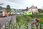 Scene of the accident at the Creamery Cross, Ohermong on Monday last around 4pm involving two cars one coming the the Waterville/Ballinskelligs direction and the other turning off for Portmagee/Valentia.  No one was seriously injured, but both drivers were taken to Tralee General Hospital.