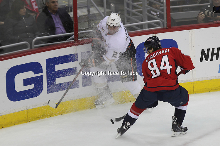 WASHINGTON DC, DECEMBER 23: Gameplay during a regular season NHL game between the Anaheim Ducks and the Washington Capitals at the Verizon Center in Washington, DC on December 23, 2013. .<br /> Credit: MediaPunch/face to face<br /> - Germany, Austria, Switzerland, Eastern Europe, Australia, UK, USA, Taiwan, Singapore, China, Malaysia, Thailand, Sweden, Estonia, Latvia and Lithuania rights only -