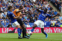 Wilfred Ndidi and Çaglar Soyuncu of Leicester City and Willy Boly of Wolverhampton Wanderers during Leicester City vs Wolverhampton Wanderers, Premier League Football at the King Power Stadium on 11th August 2019