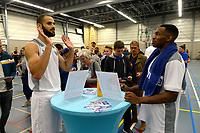 UITHUIZEN - Basketbal , Donar - Groene Uilen met meet en greet na afloop, voorbereiding seizoen 2018-2019, 01-09-2018 Donar speler Shane Hammink en Donar speler Jordan Callahan