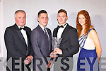 Kerry players who won awards at the Munster GAA awards in the Malton Hotel on Saturday night l-r: Mikey Sheehy Hall of Fame recipient, Jack Savage Minor Footballer of the Year, James O'Donoghue Senior Footballer of the Year, Louise Ní Muircheartaigh Senior Lady player of the Year