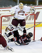 John Muse (BC - 1), Garrett Vermeersch (NU - 9) - The Boston College Eagles defeated the Northeastern University Huskies 5-1 on Saturday, November 7, 2009, at Conte Forum in Chestnut Hill, Massachusetts.