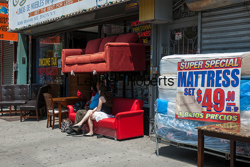 Furniture Store In The Busy Graham Avenue CBD In The Bushwick Neighborhood  Of Brooklyn In New