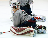 Thomas McCollum (US Blue - 35)- US players take part in practice on Friday morning, August 8, 2008, in the NHL Rink during the 2008 US National Junior Evaluation Camp and Summer Hockey Challenge in Lake Placid, New York.