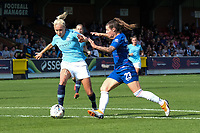 Steph Houghton of Manchester City Women and Ramona Bachmann of Chelsea Ladies during Chelsea Women vs Manchester City Women, FA Women's Super League FA WSL1 Football at Kingsmeadow on 9th September 2018
