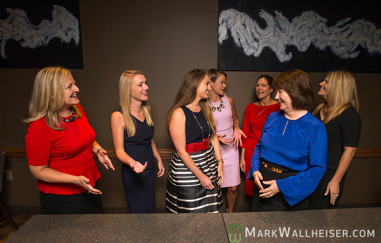 From left, moderator Christina Johnson, lobbyist Samantha Sexton, Monica Rodriguez, Sarah Busk, Jan Gorrie, Keyna Cory and Andrea Reilly prior to a Florida Women Lobbyist round table at the Blue Halo Restaurant in Tallahassee, Florida.