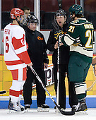Joe Pereira (BU - 6), Jeff Bunyon, Dave Hansen, Jack Downing (Vermont - 21) - The visiting University of Vermont Catamounts tied the Boston University Terriers 3-3 in the opening game of their weekend series at Agganis Arena in Boston, Massachusetts, on Friday, February 25, 2011.