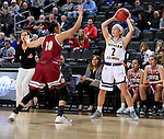 SIOUX FALLS, SD: MARCH 4: Emily Clemens #2 from Western Illinois looks to pass over Haley Simental #10 from Denver on March 4, 2017 during the Summit League Basketball Championship at the Denny Sanford Premier Center in Sioux Falls, SD. (Photo by Dave Eggen/Inertia)