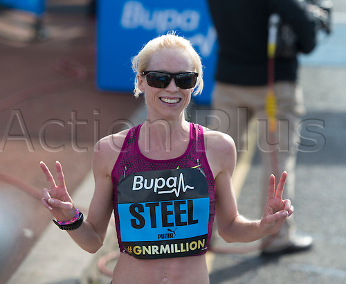 07.09.2014.  South Shields, England.  BUPA Great North Run. Second place Gemma Steel at the finish of the Great North Run.